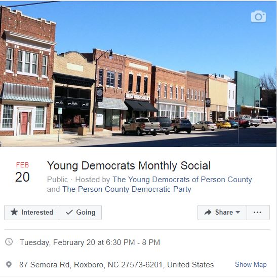 Young Democrats Monthly Meeting @ Person County Senior Center | Roxboro | North Carolina | United States