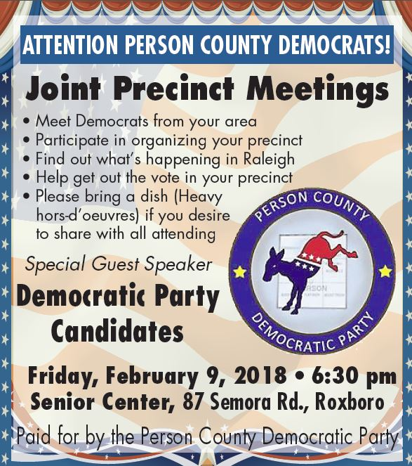 2018 Joint Precinct Meetings @ Person County Senior Center | Roxboro | North Carolina | United States
